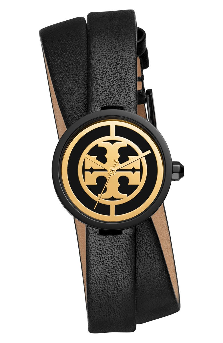 TORY BURCH Reva Double Wrap Leather Strap Watch, 29mm, Main, color, BLACK/ GOLD