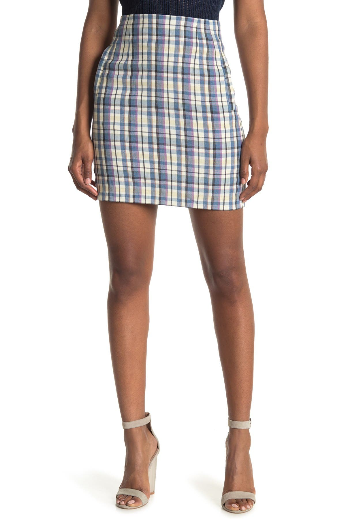 Image of VERONICA BEARD Roman Plaid Mini Skirt