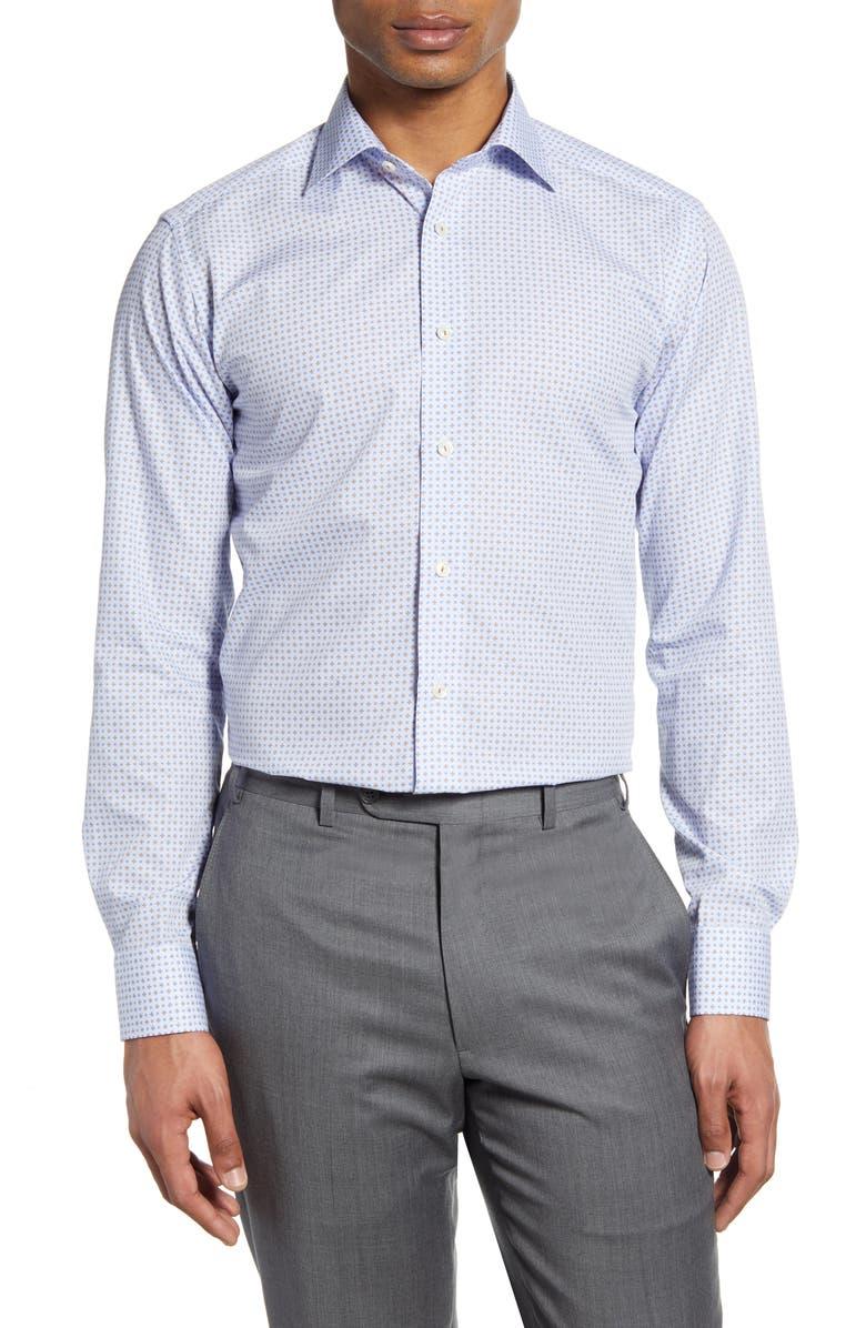 ETON Slim Fit Geometric Dress Shirt, Main, color, OFF WHITE/ BROWN