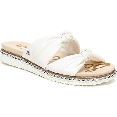 Sam Edelman Alyse Knotted Strap Studded Slide Sandal, White