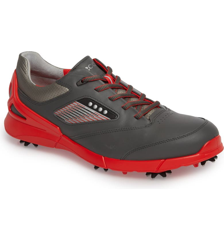 ECCO Base One Golf Shoe, Main, color, BLACK/ SCARLET LEATHER