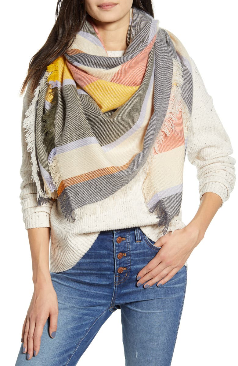 MADEWELL Stripe Blanket Scarf, Main, color, BONE