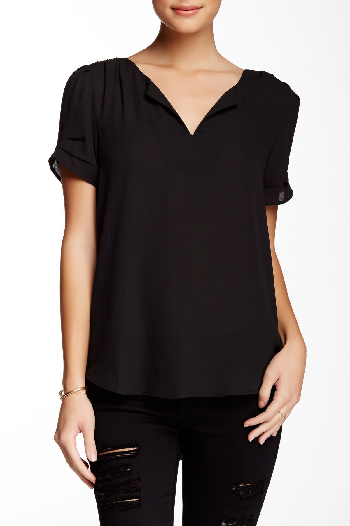 Image of DR2 by Daniel Rainn Pleated Sleeve Split Neck Blouse
