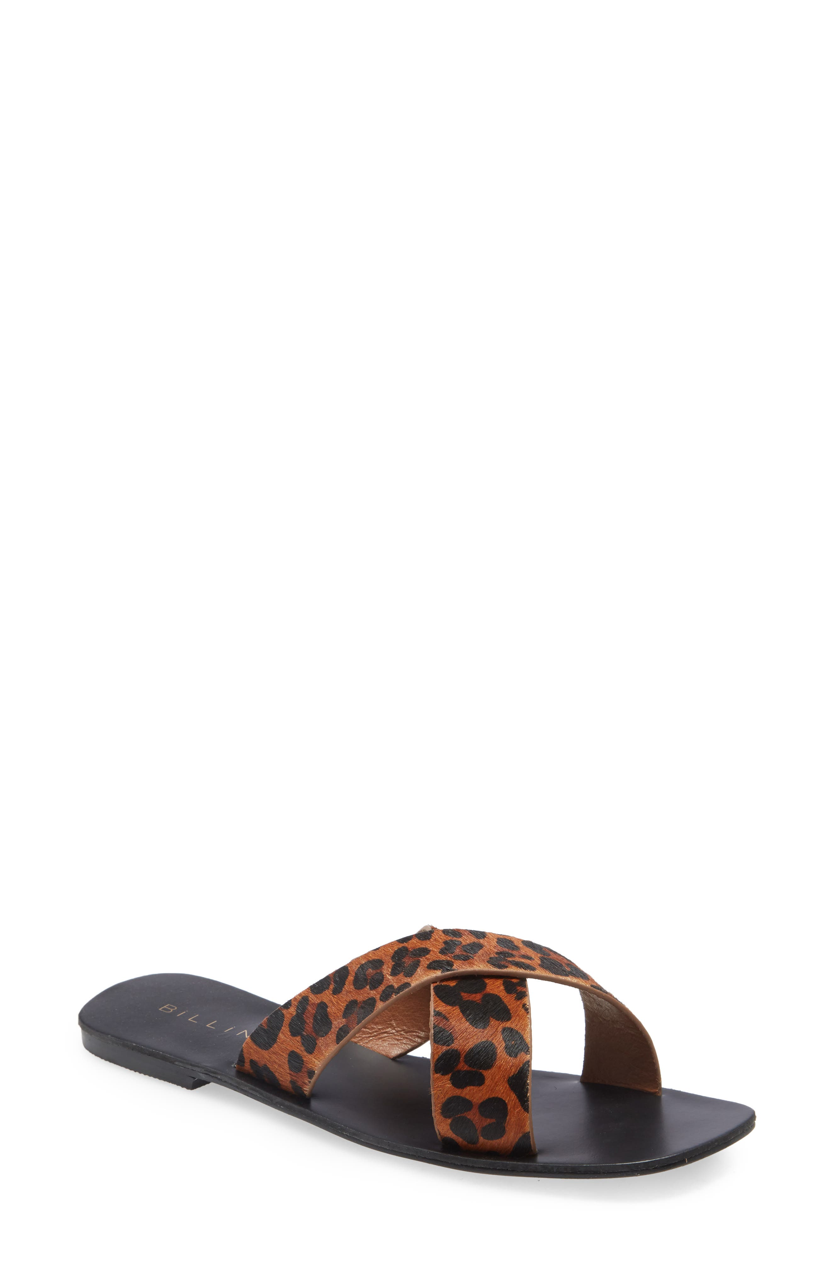 Tahvo Leopard Print Genuine Calf Hair Slide Sandal