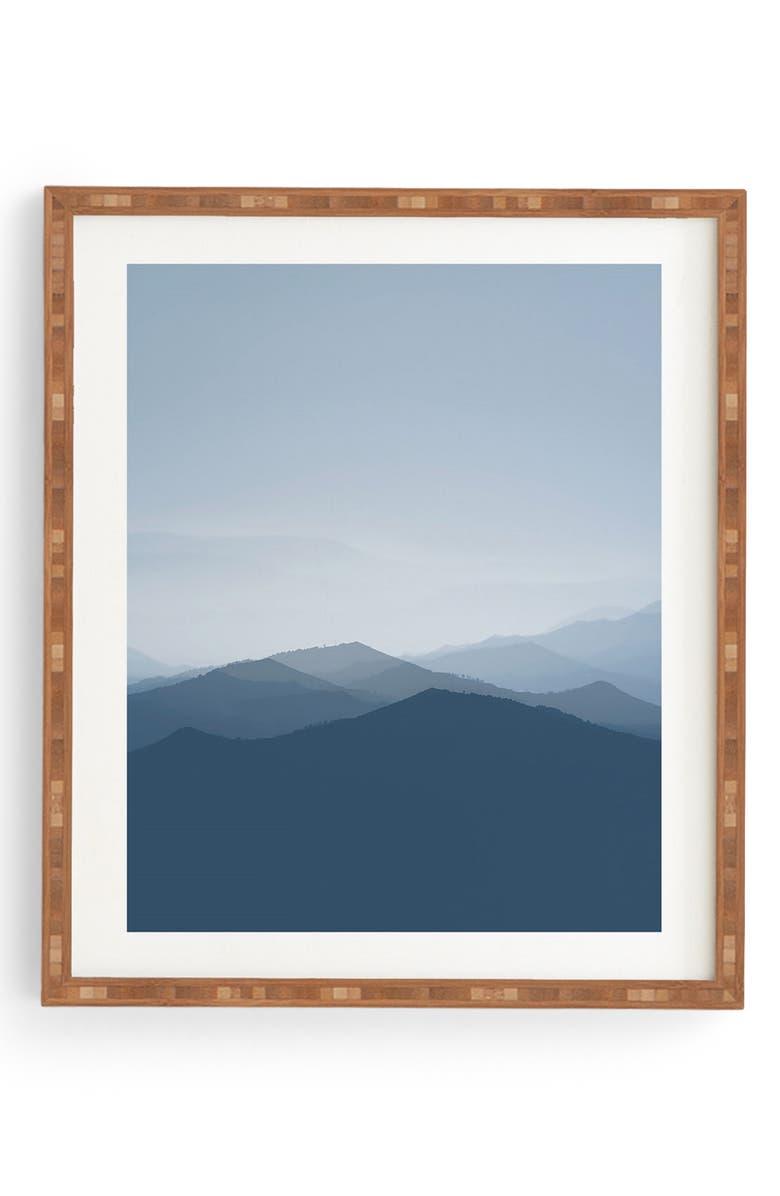 DENY DESIGNS Hazy Morning Blues Framed Wall Art, Main, color, BLUE