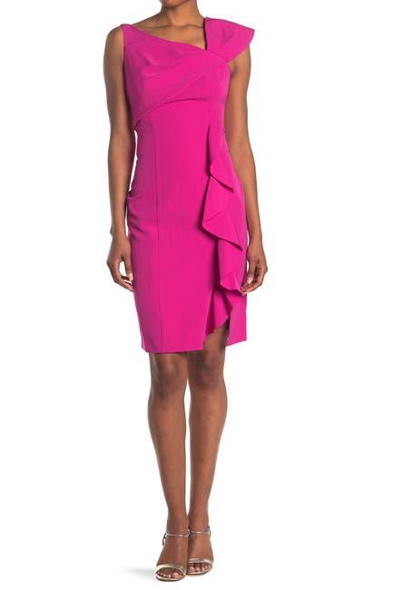 Image of Marina Asymmetrical Sheath Ruffle Dress