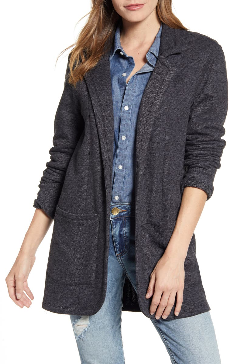CASLON<SUP>®</SUP> Cotton Blend Boyfriend Blazer, Main, color, BLACK