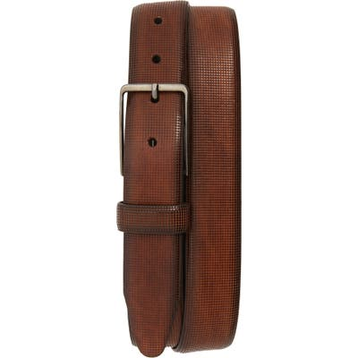 Johnston & Murphy Mini Embossed Leather Belt, Brown