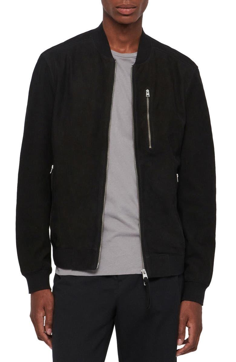 ALLSAINTS Stones Leather Bomber Jacket, Main, color, 001