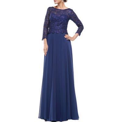 Marsoni Guipure Lace & Chiffon A-Line Gown, Blue
