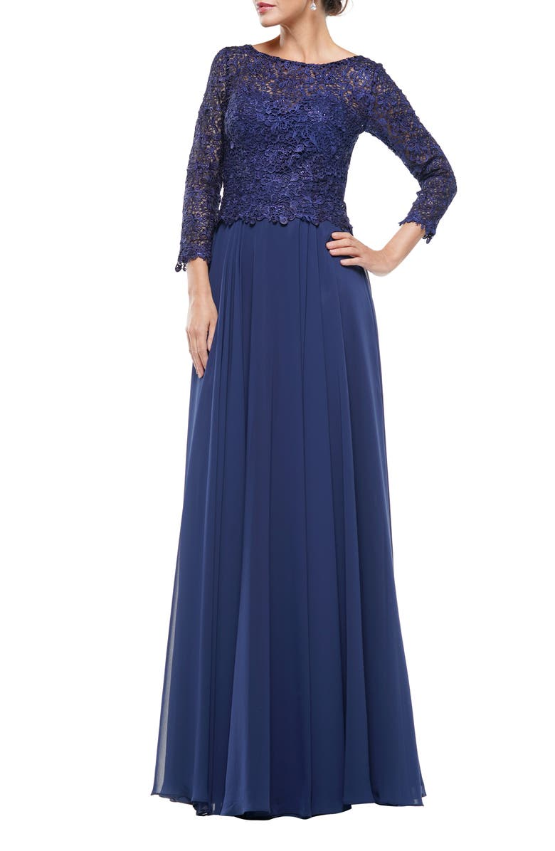 MARSONI Guipure Lace & Chiffon A-Line Gown, Main, color, NAVY