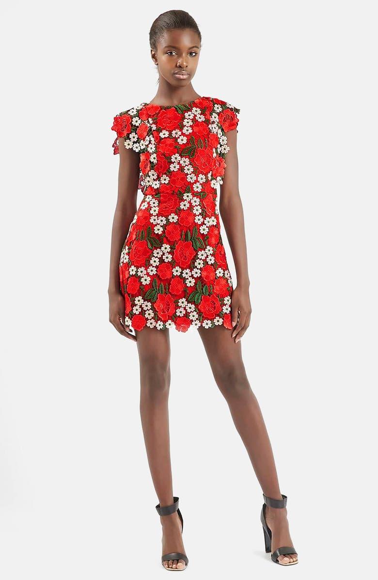 TOPSHOP Floral Lace A-Line Dress, Main, color, 600