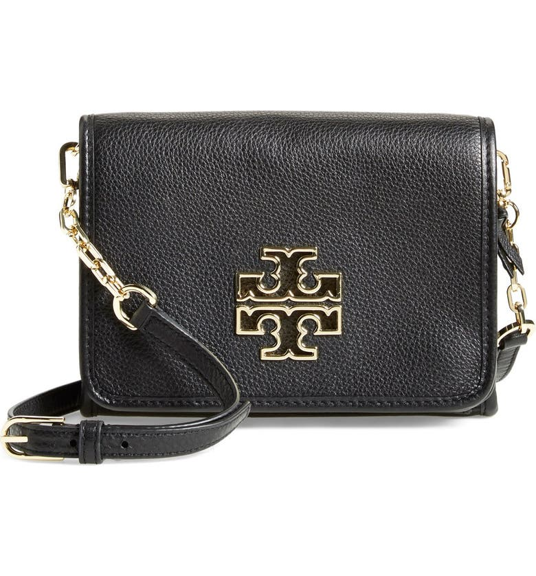 TORY BURCH 'Britten' Leather Crossbody Bag, Main, color, 001