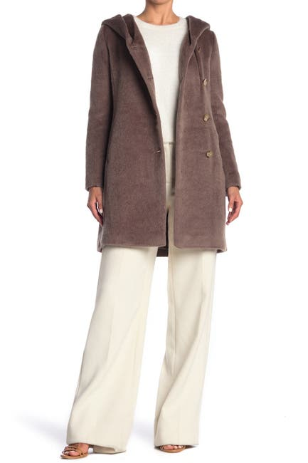 Image of Cole Haan Hooded Wool Blend Coat