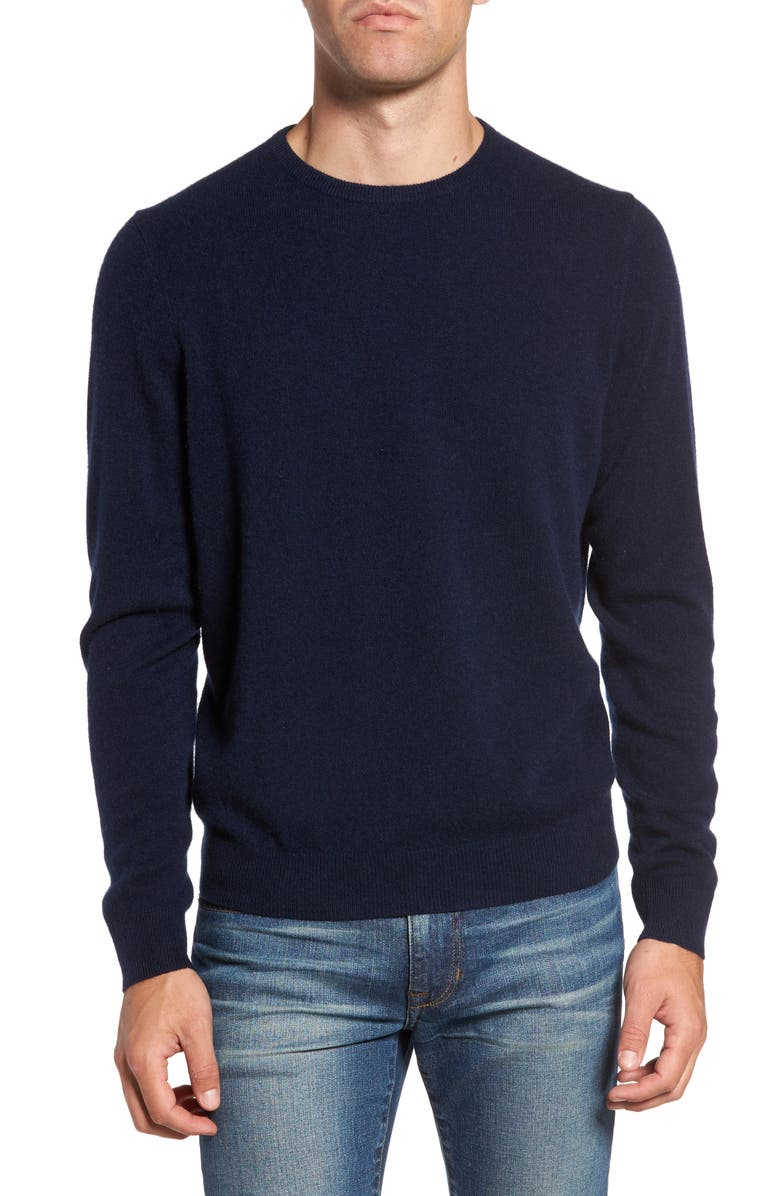 NORDSTROM MEN'S SHOP Cashmere Crewneck Sweater, Main, color, NAVY CHARCOAL