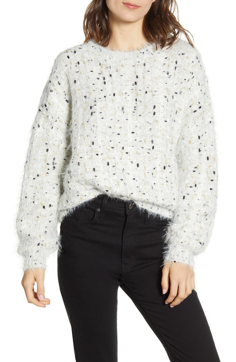 CUPCAKES AND CASHMERE Nisha Fuzzy Speckle Pullover, Main, color, IVORY