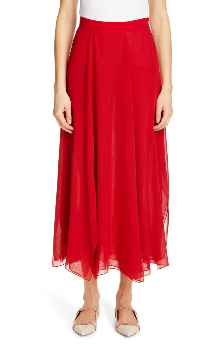 MAX MARA Margie Silk Chiffon Midi Skirt, Main, color, 614