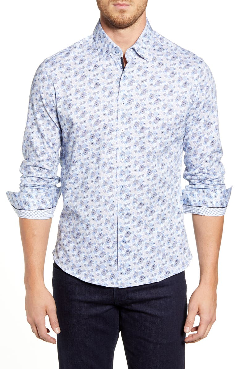 STONE ROSE Regular Fit Button-Up Performance Sport Shirt, Main, color, BLUE