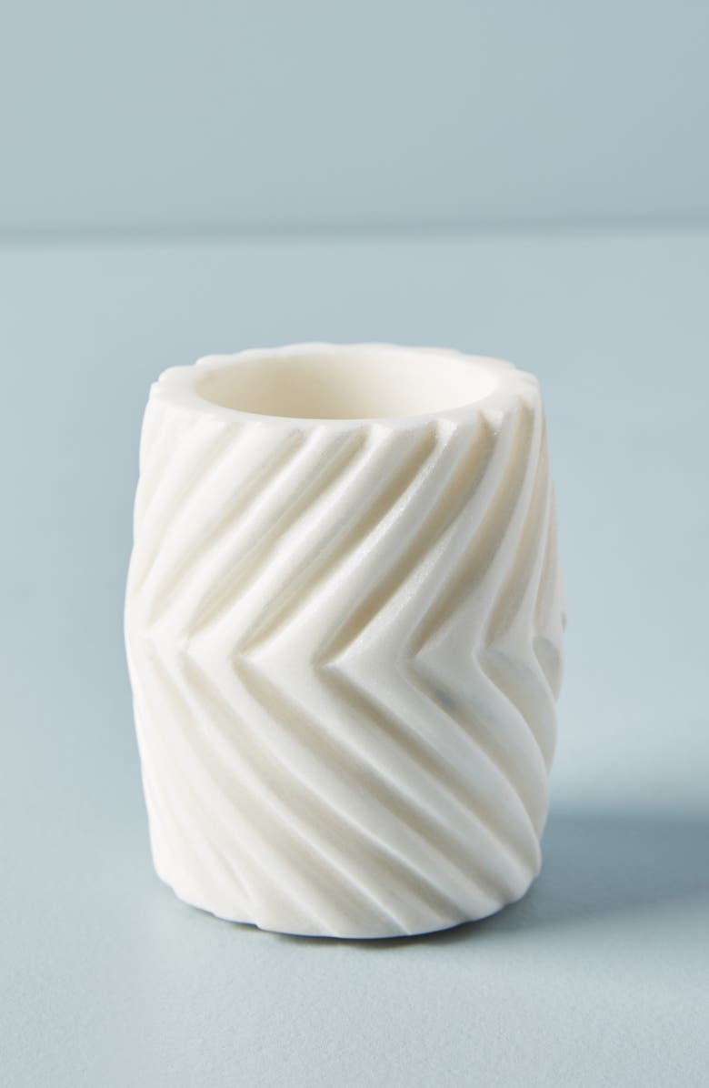 ANTHROPOLOGIE Jax Marble Toothbrush Holder, Main, color, WHITE