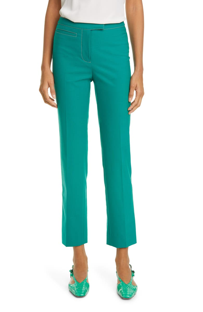 SIES MARJAN Tropical Blend Straight Leg Pants, Main, color, EMERALD