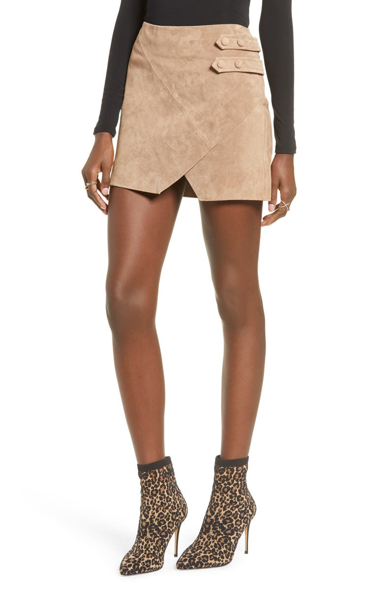 BLANKNYC Suede Miniskirt, Main, color, MACCHIATO