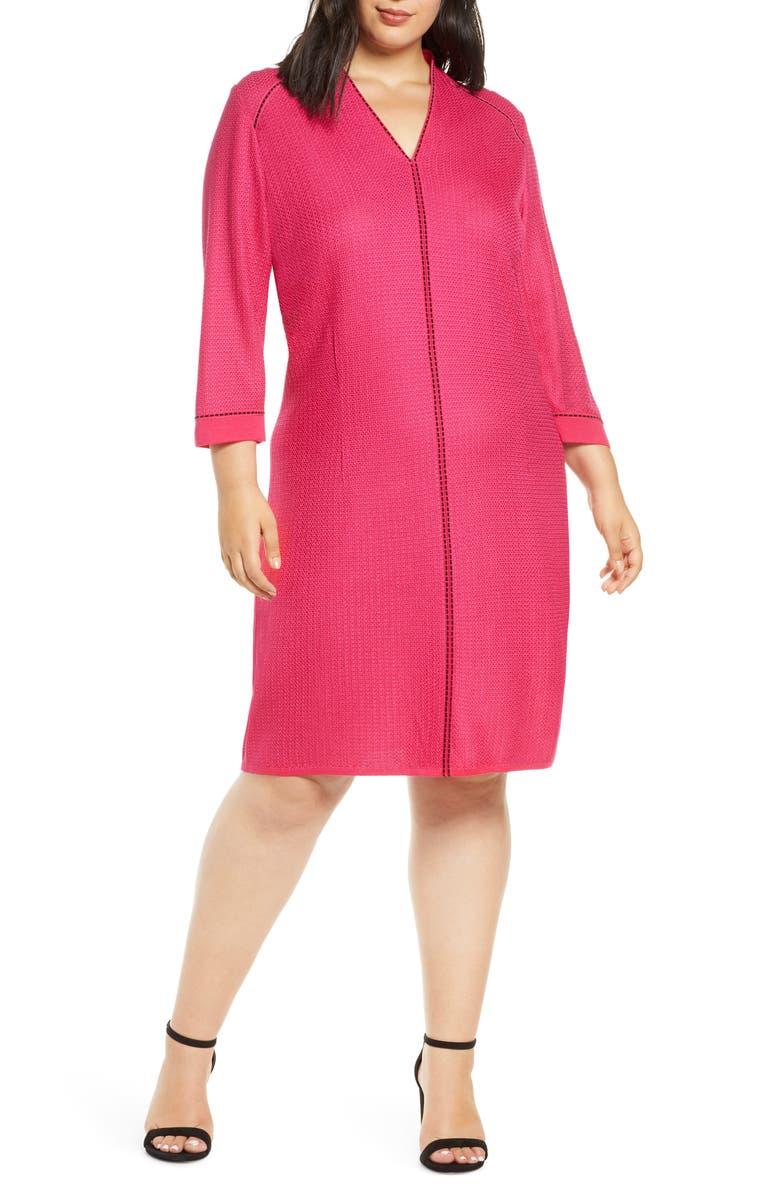 MING WANG Jacquard Knit A-Line Dress, Main, color, BRIGHT ROSE/ BLACK