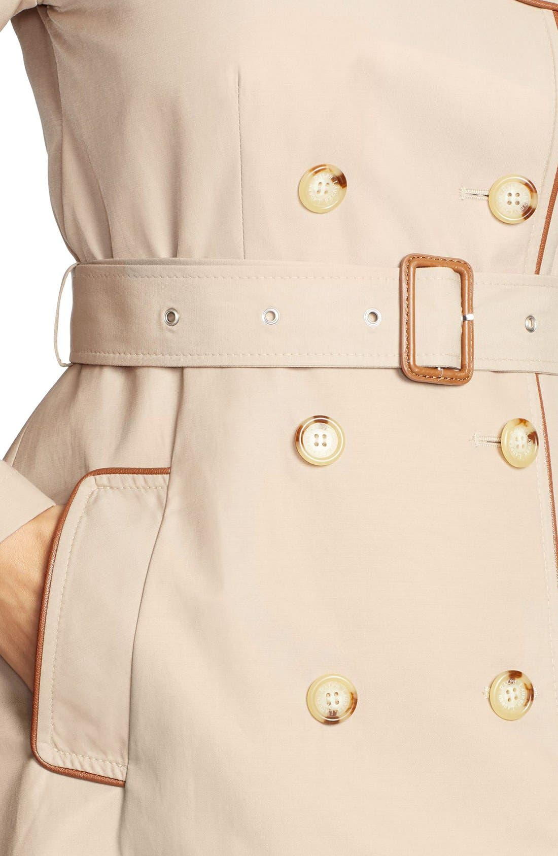 ,                             Faux Leather Trim Trench Coat,                             Alternate thumbnail 27, color,                             251