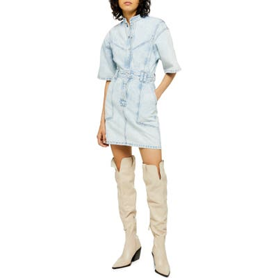 Topshop Acid Wash Denim Dress, US (fits like 6-8) - Blue