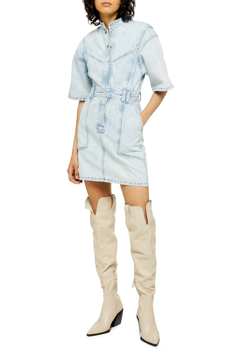 TOPSHOP Acid Wash Denim Dress, Main, color, BLEACH