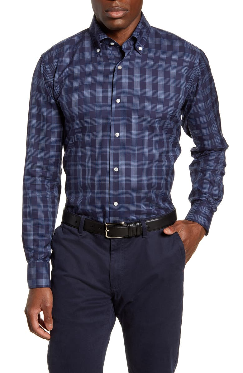 PETER MILLAR COLLECTION Reigns Tailored Fit Plaid Button-Down Shirt, Main, color, BARCHETTA