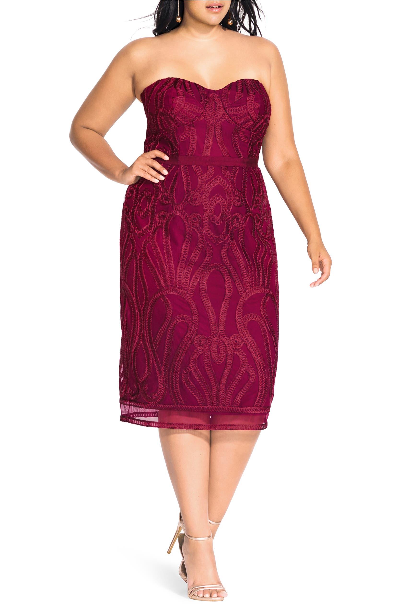 City Chic Antonia Strapless Sheath Dress (Plus Size) | Nordstrom
