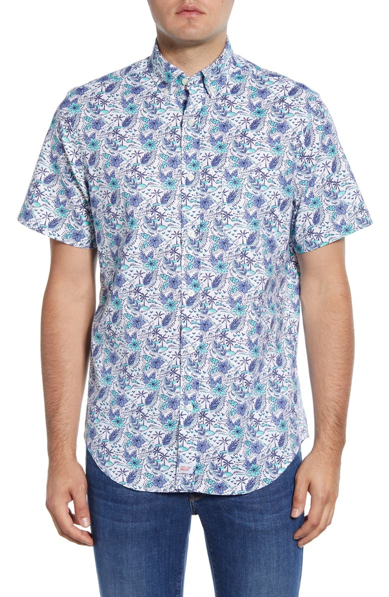 VINEYARD VINES Murray Classic Fit Tropical Short Sleeve Button-Down Shirt, Main, color, WHITE CAP