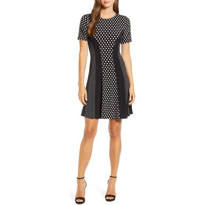 Michael Kors Mod Dot Combo Fit & Flare Dress, Black