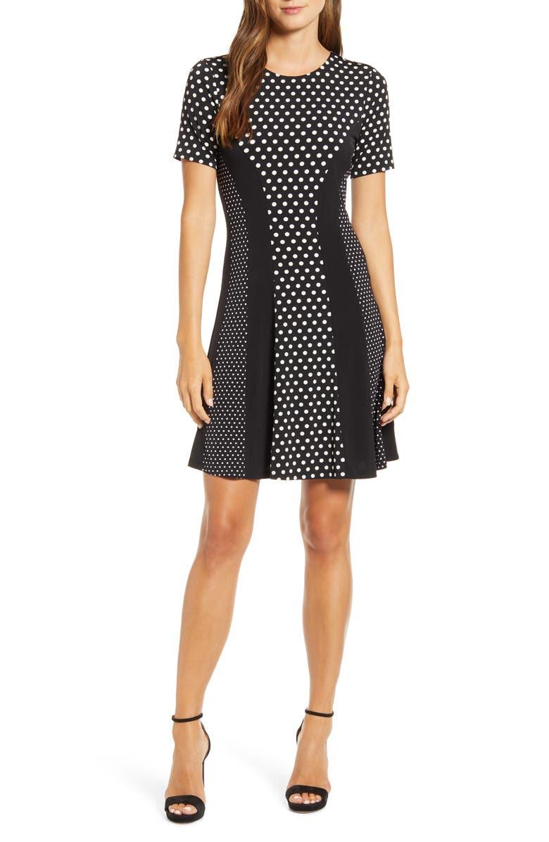 MICHAEL MICHAEL KORS Michael Kors Mod Dot Combo Fit & Flare Dress, Main, color, BLACK / BONE