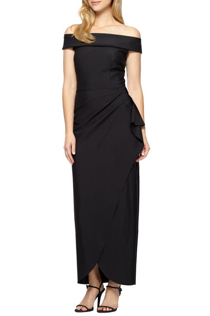 Image of Alex Evenings Off-the-Shoulder Column Gown