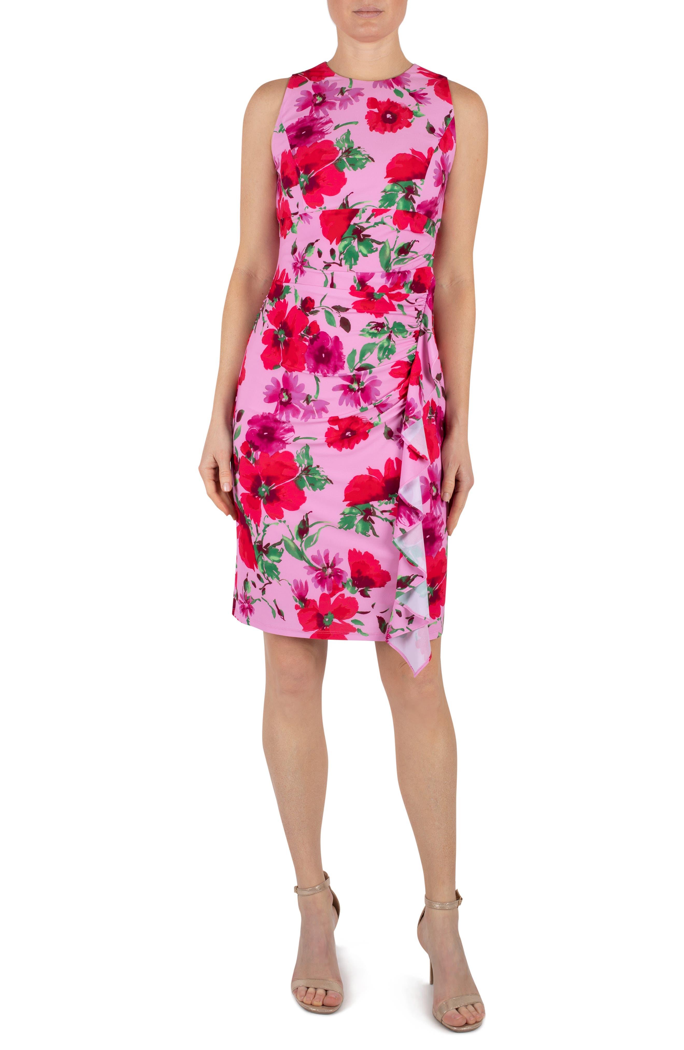 Floral Print Ruffle Detail Jersey Dress