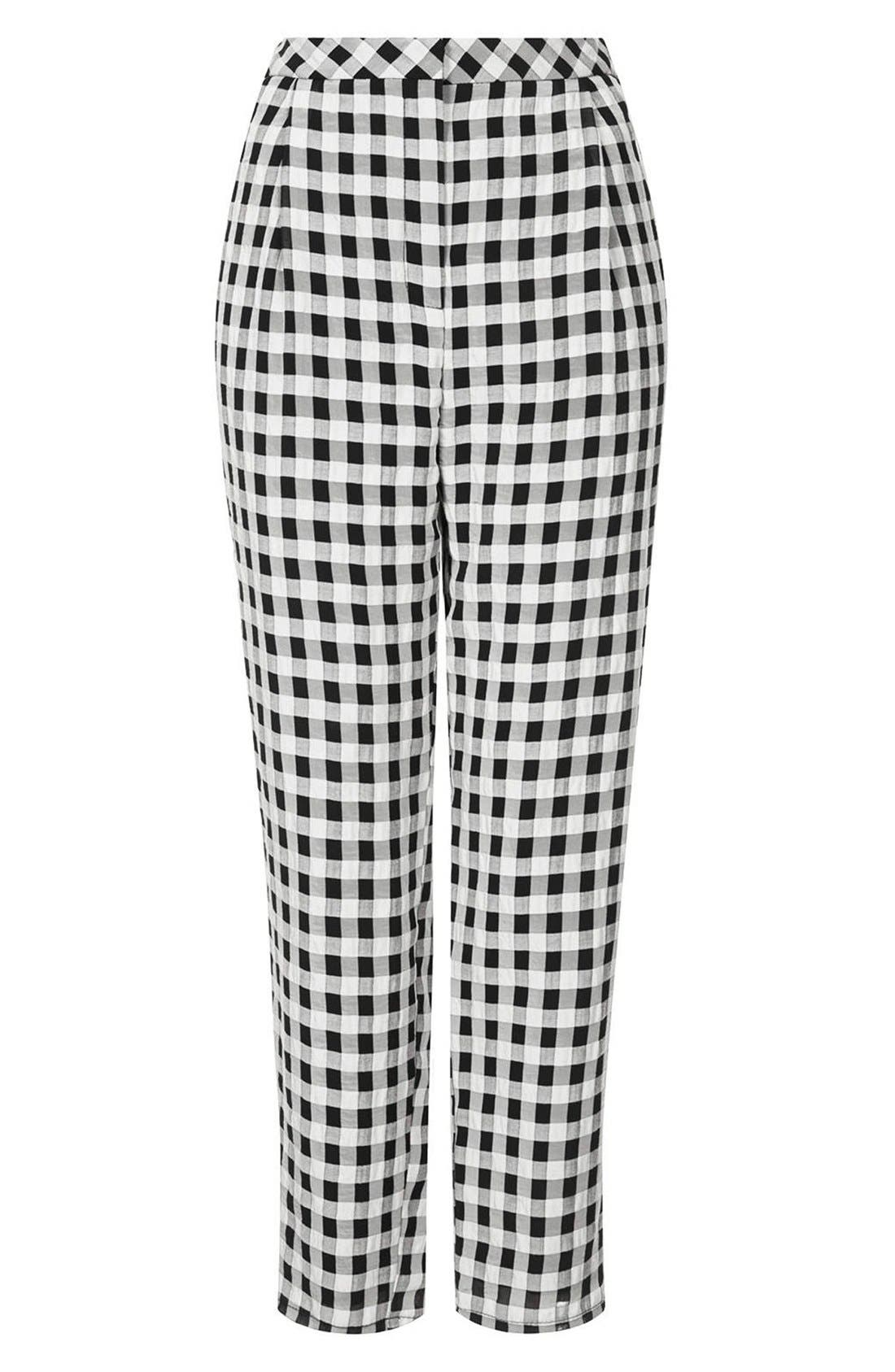 ,                             Textured Gingham Peg Leg Pants,                             Alternate thumbnail 3, color,                             002