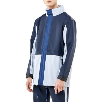 Rains Waterproof Colorblock Tracksuit Jacket With Zip Out Hood, Blue
