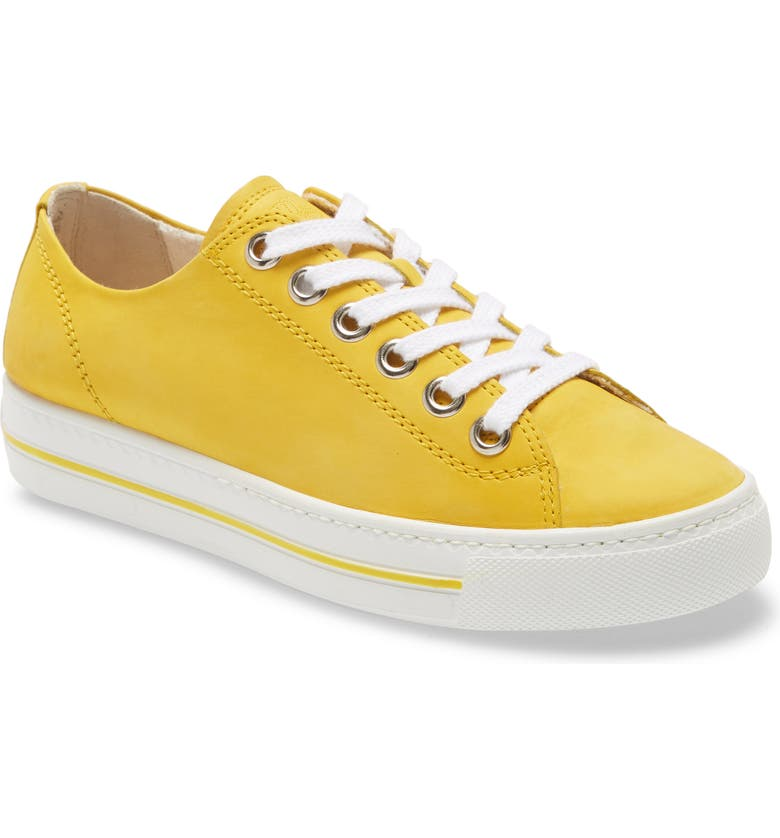 PAUL GREEN Ally Low Top Sneaker, Main, color, SUNFLOWER NUBUK