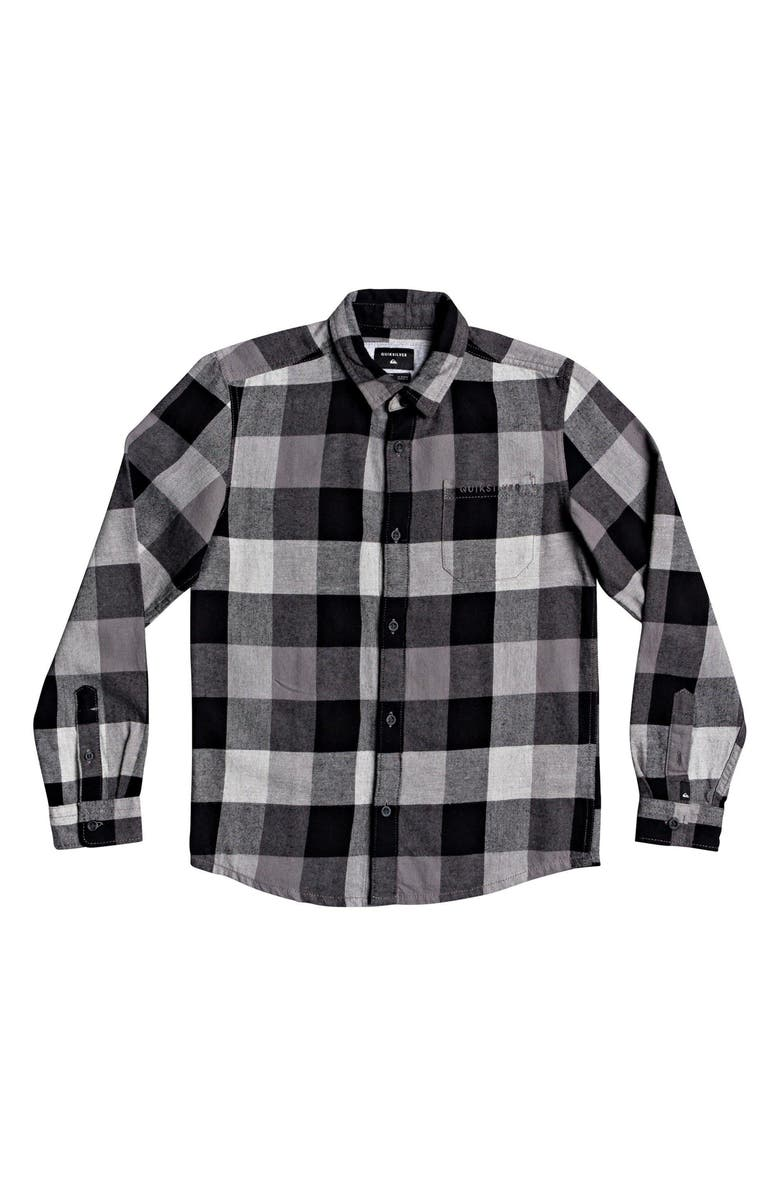 QUIKSILVER Motherfly Plaid Flannel Shirt, Main, color, LIGHT GREY HEATHER