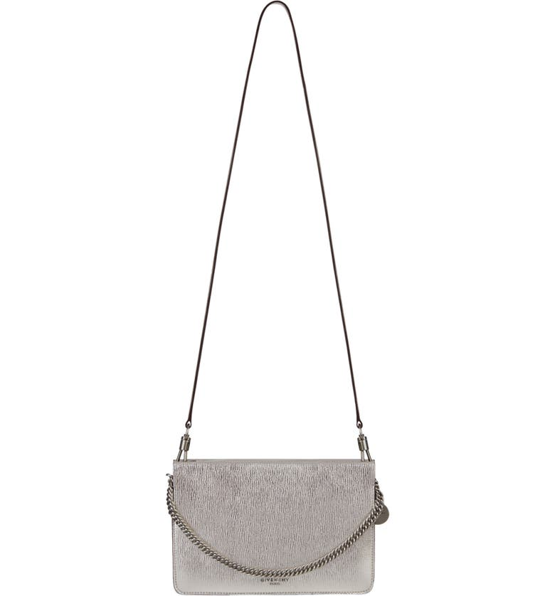 GIVENCHY Cross 3 Leather Crossbody Bag, Main, color, SILVER/ NATURAL