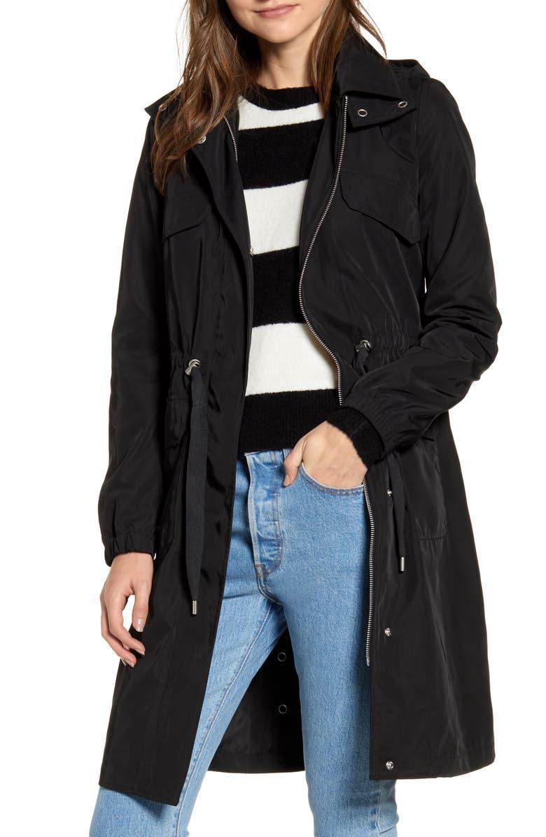 AVEC LES FILLES Water Resistant Raincoat with Removable Hood, Main, color, BLACK