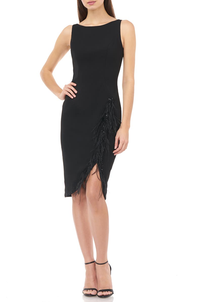 CARMEN MARC VALVO INFUSION Bead & Feather Trim Sleeveless Crepe Cocktail Dress, Main, color, 001