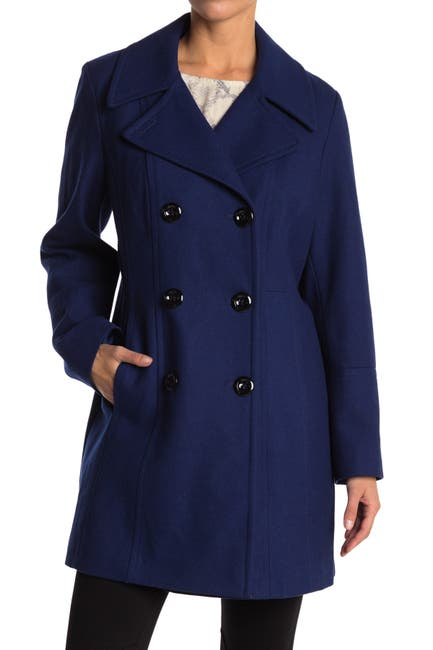 Image of Anne Klein Notch Collar Wool Blend Peacoat