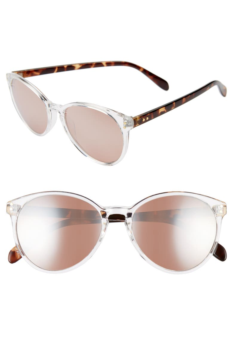 BP. 55mm Mirrored Round Cat Eye Sunglasses, Main, color, 112