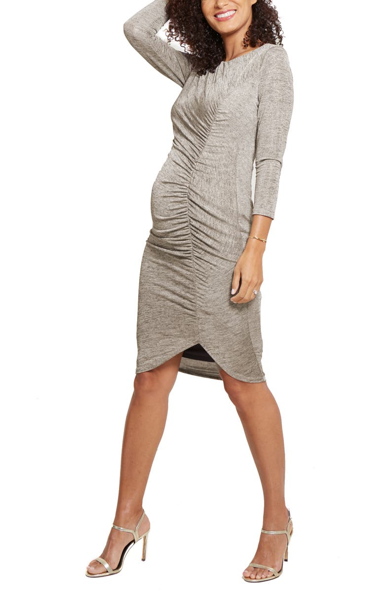 INGRID & ISABEL<SUP>®</SUP> Tulip Hem Maternity Dress, Main, color, GOLD FOIL