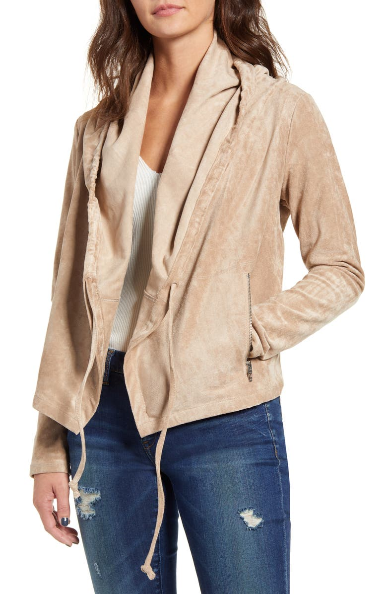 BLANKNYC Faux Suede Drawstring Hooded Jacket, Main, color, 250