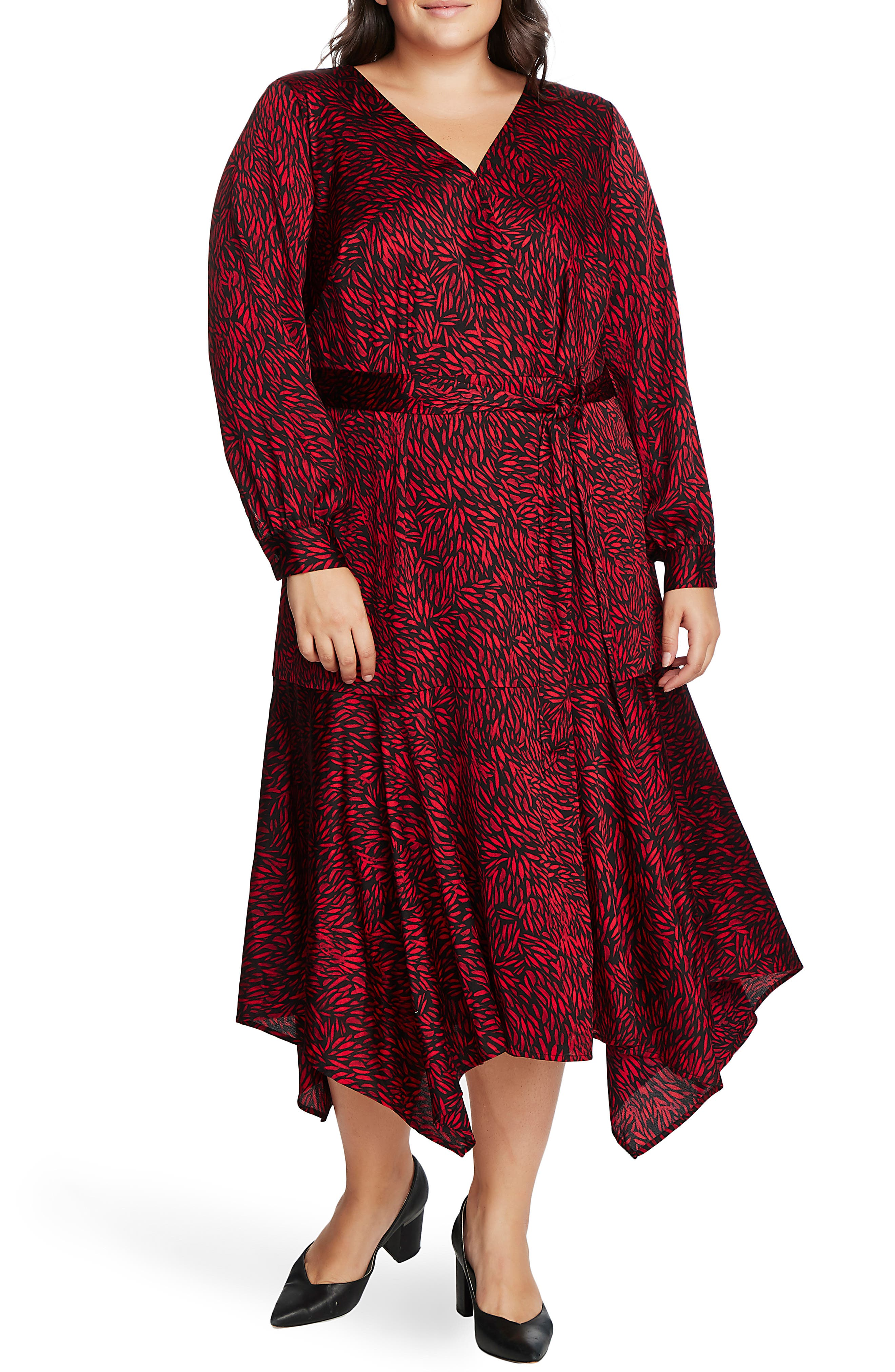 Vintage 1920s Dresses – Where to Buy Plus Size Womens Vince Camuto Petal Print Asymmetrical Hem Dress Size 3X - Red $179.00 AT vintagedancer.com