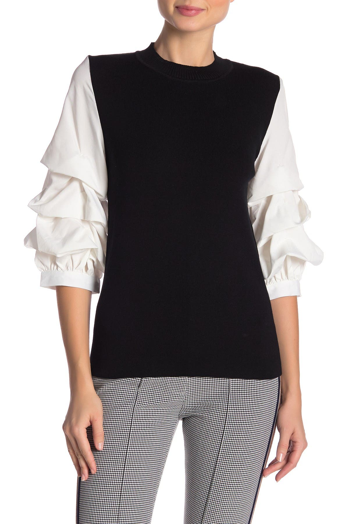 Image of Gracia Layered Sleeve Knit Top
