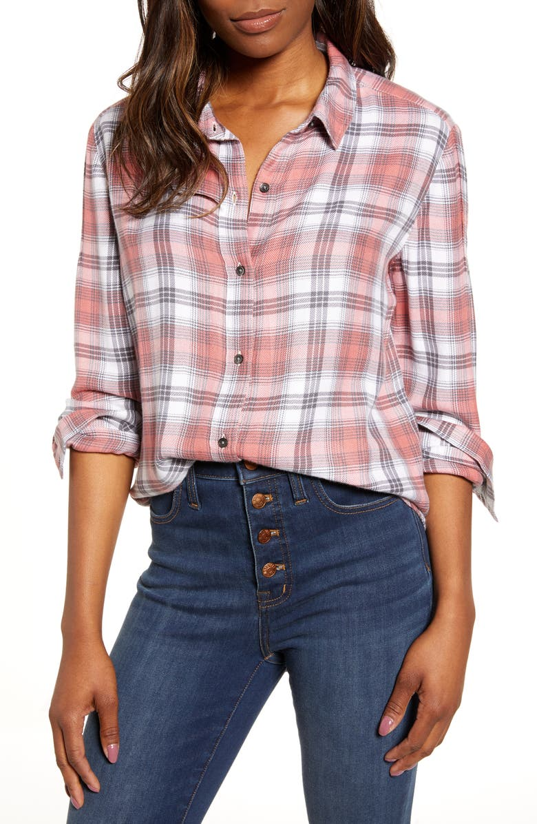 CASLON<SUP>®</SUP> Plaid Shirt, Main, color, BLACK PINK DARK SHADOW PLAID